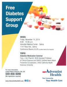 Free Diabetes Support Group 11-14-14