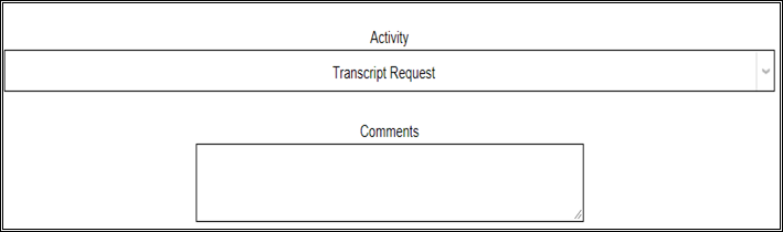 Transcript Request Screen